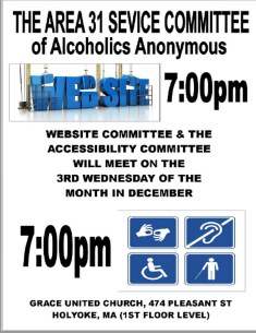December Accessibility & Website Meeting Change flyer