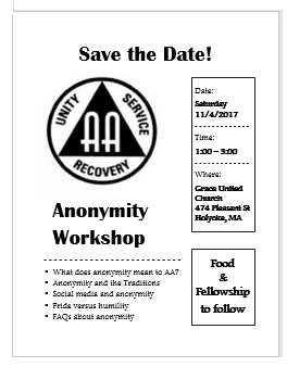 Public Information Committee Anonymity Workshop Flyer